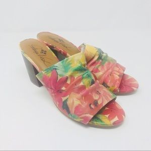 NEW! Patricia Nash Leather Flower Heeled Sandals